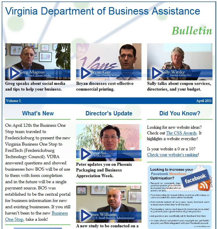 April 2011 Greg Magnus on social media marketing - Virginia Dept. of Business Assistance Bulletin